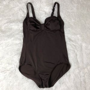 Speedo Swimsuit Size 12  Brown Gathered Bust